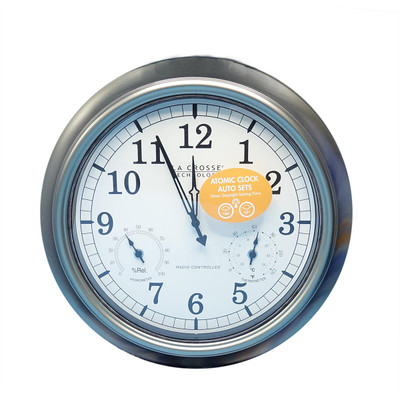 "18"" Atomic Clock, Silver"