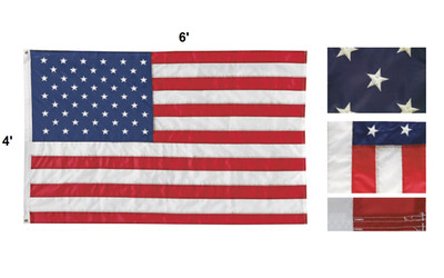 4' x 6' Embroidered American Flag