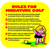 MINIATURE GOLF RULES SIGN
