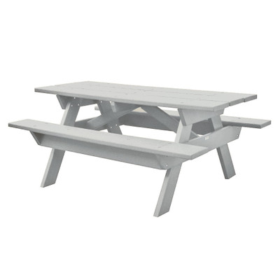 6' Rectangular Picnic Table White